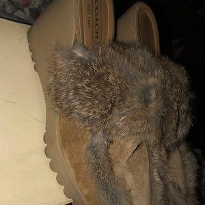 coach Shoes - Coach shoe suede fur clogs size 9 b 1 hr sale